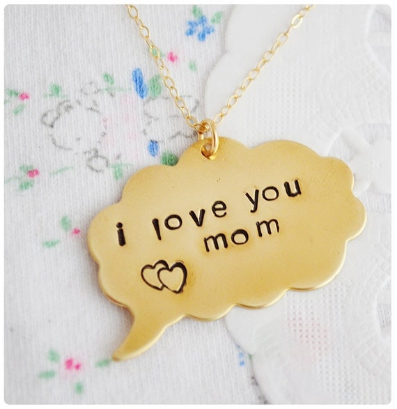 Mother's Day Stamped Necklace - Brass - Personalized Jewelry - Stamped Jewellery - Name Necklace - Thought Bubble