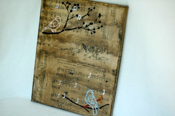 Collage on Canvas, birds on vintage music