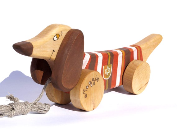 Personalized Wooden Dog, eco-friendly natural pull along toy a Red Dog