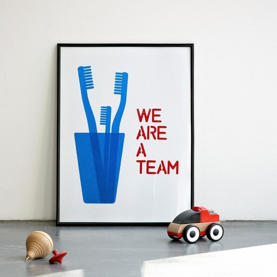 We are a team. Mother's day. Cyan Screenprint 11.7 x 16.5 (A3)