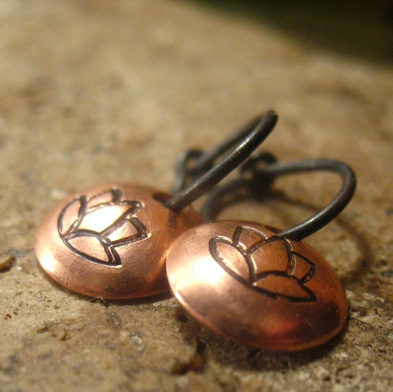 Little Hoop Earrings Lotus Dangles Oxidized Sterling Silver with Copper Dangle Itty Bitty Hoops Collection