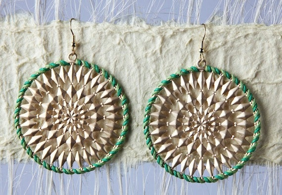 Green and Gold Crochet Dangle Earrings
