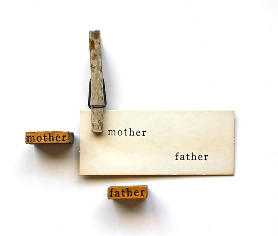 Mother, Father - Vintage Mounted Wooden Word Stamps