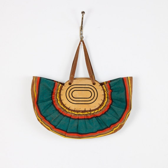 African Stripe and Wood Vintage Boat Bag