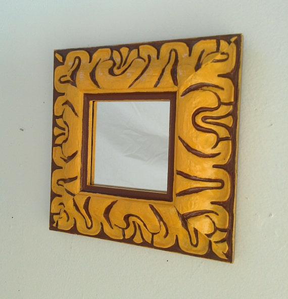 Decorative Wall Mirror in Hand Painted Antique Wood Frame