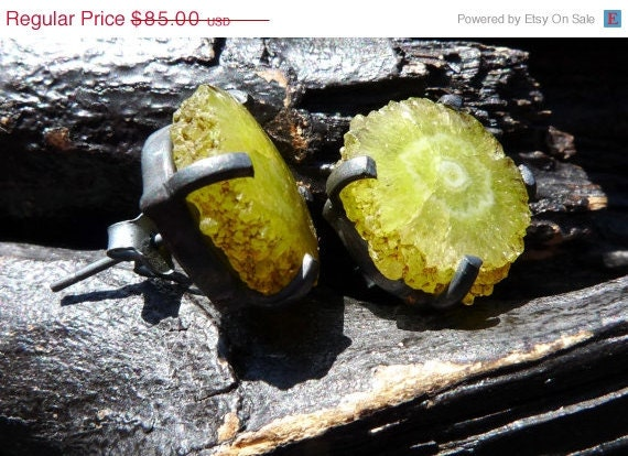 30 OFF SALE druzy stalactite earrings solar quartz by by BeijoFlor