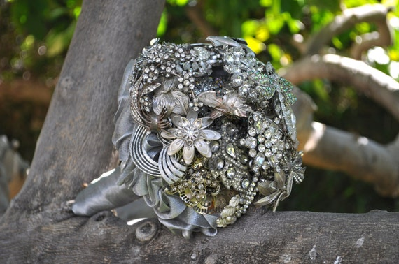 Vintage Brooch Bouquet in silver and soft gold with lots of rhinestones and a dragonfly accent