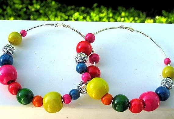 Colorful Spring Wood Bead Hoop Earrings - Multi-color Wood Beads