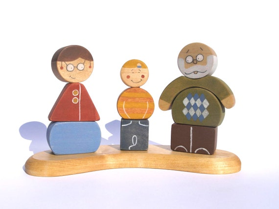 Wooden Stacking Toy Puzzle: Grandma, Grandpa and Grandson eco friendly kids toy
