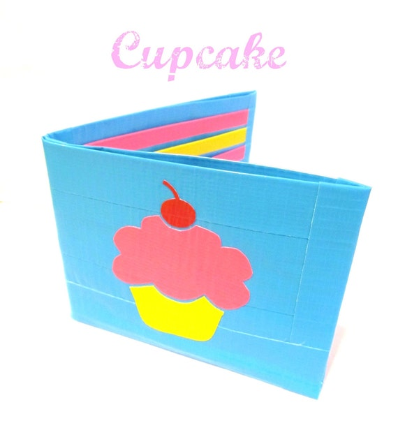 Blue Cupcake Duct Tape Wallet