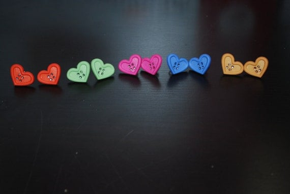 Multicolored Heart Shaped Button Earrings