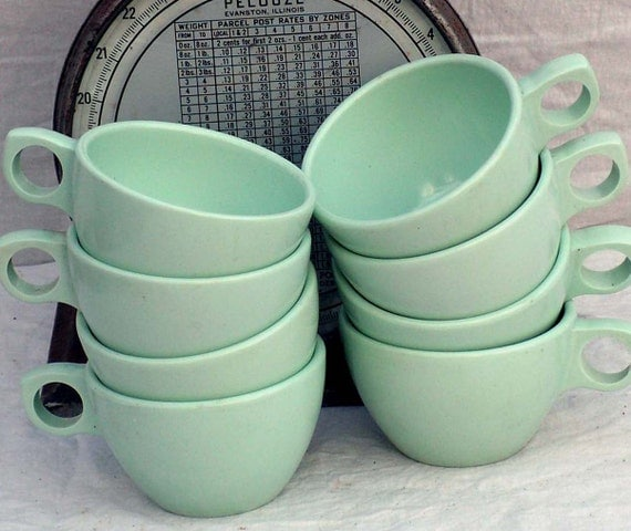 Prolon Florence Coffee Cups Aqua Pale Jadite Green Melmac Melamine Set Of 6 Six 1950s Mid Century Kitchen Dining Ware