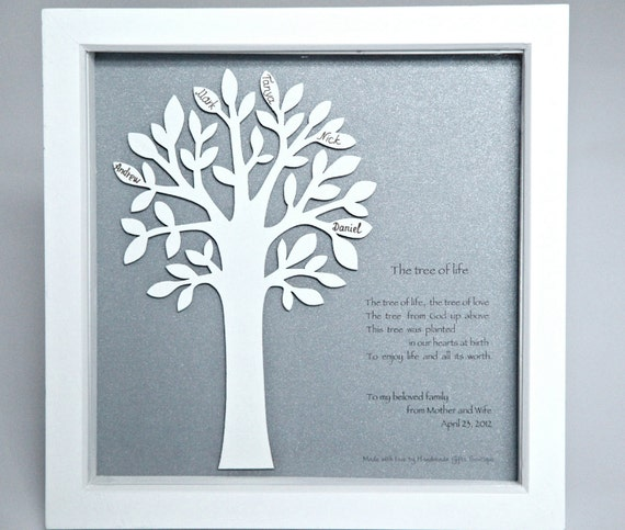 A Personalised, 3D wooden Family Tree in a box frame, Gift for Wedding, Anniversary, New Born, Christening, Keepsake, Mothers/ Fathers Day