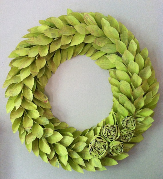 chartreuse spring wreath large 22 inch newspaper rosette and leaf