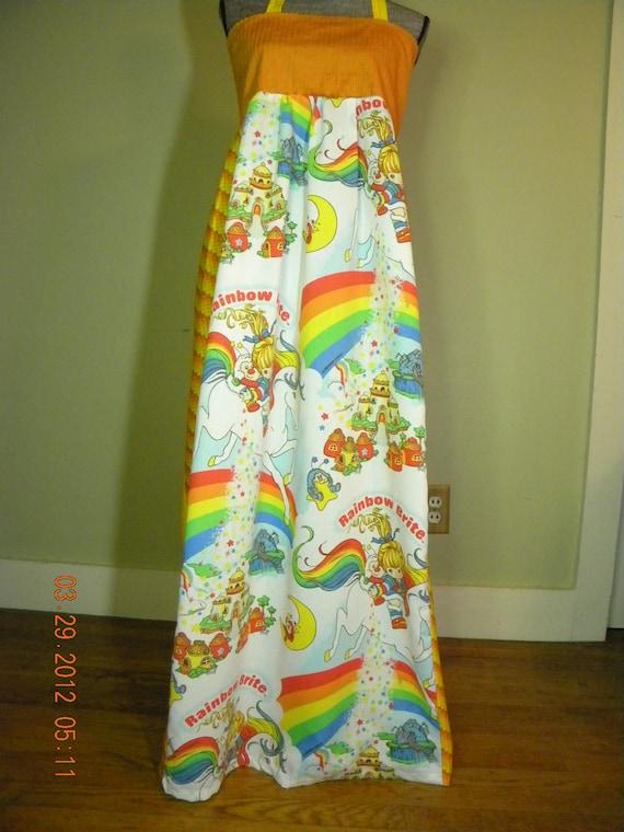 Vintage Rainbow Brite Orange Hippie Dress