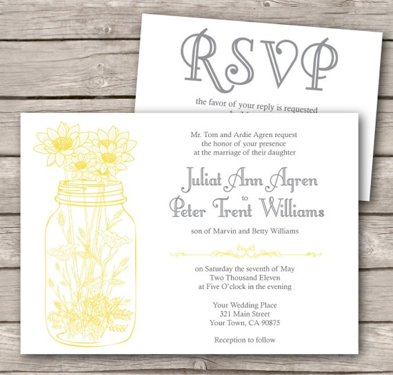 Mason Jar Wedding Invitation and RSVP. with wild flowers. rustic, modern design. printed. vintage theme