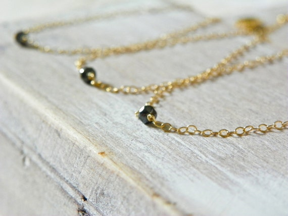 Bridesmaid Jewelry Gifts. Black Diamond Bracelets with 14k Gold. Set of 3. Free Shipping. Diamond Wedding Jewelry.