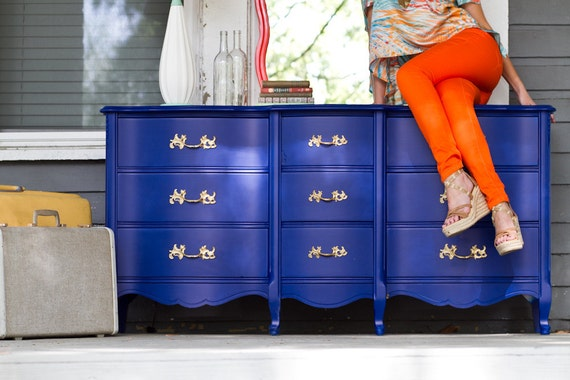9 Drawer Cobalt Blue Dresser with Bright Gold Ornate Pulls