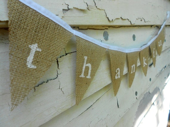 Thankful Shabby Chic Burlap Banner