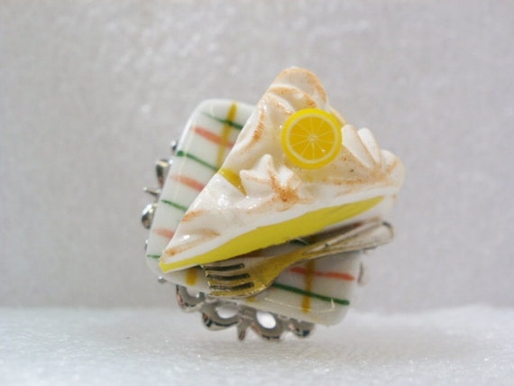 Lemon Meringue Pie Ring. Polymer Clay.