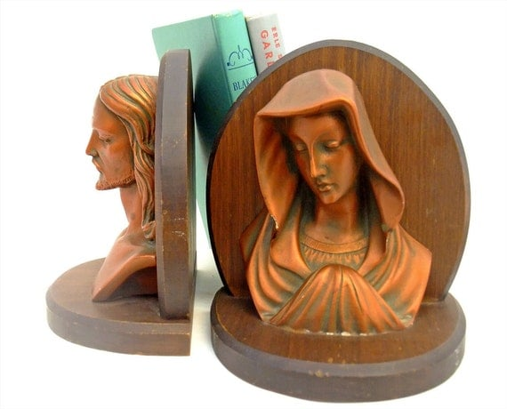 Vintage Bookends Chalkware Wood Virgin Mary by mysweetiepiepie