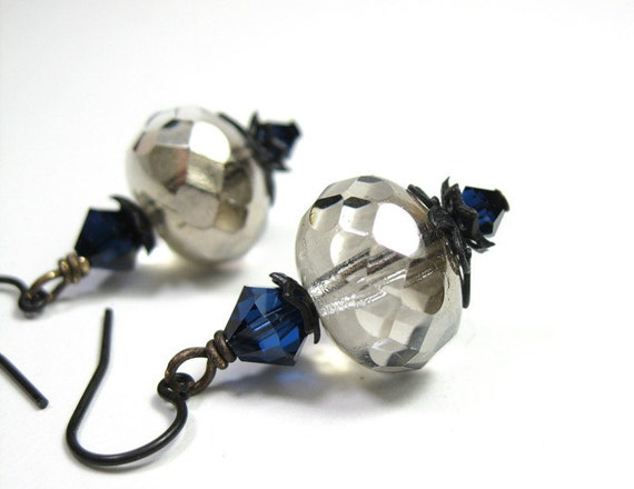 Platinum Czech Glass, Indigo Swarovski, Earrings