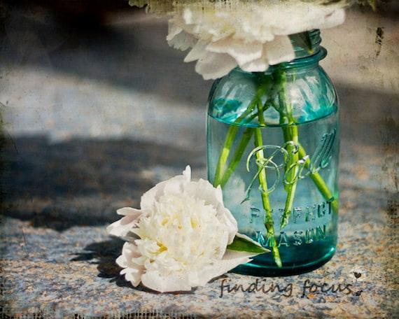 Mason Jar Peonies - Aqua Blue Mason Jar with a White Peony & Bouquet on a Distressed and Aged Slate Blue Background - 8x10 Fine Art Photo
