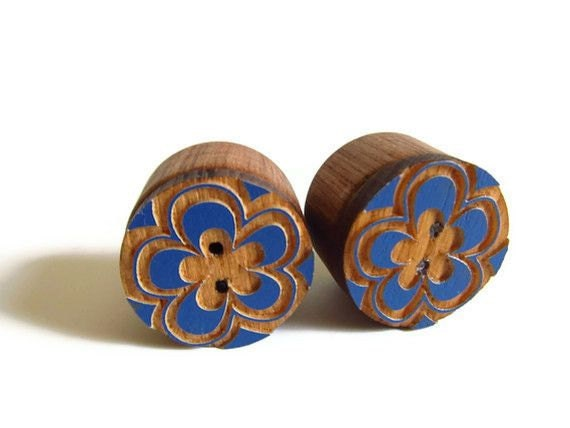 Wooden Ear Plugs - 1 inch (2.54 cm)  Wooden Cut Out Boho Button