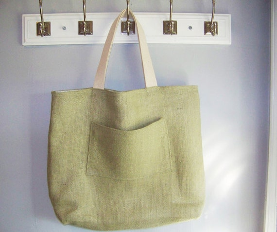 HUGE Tote Bag - Green Jute