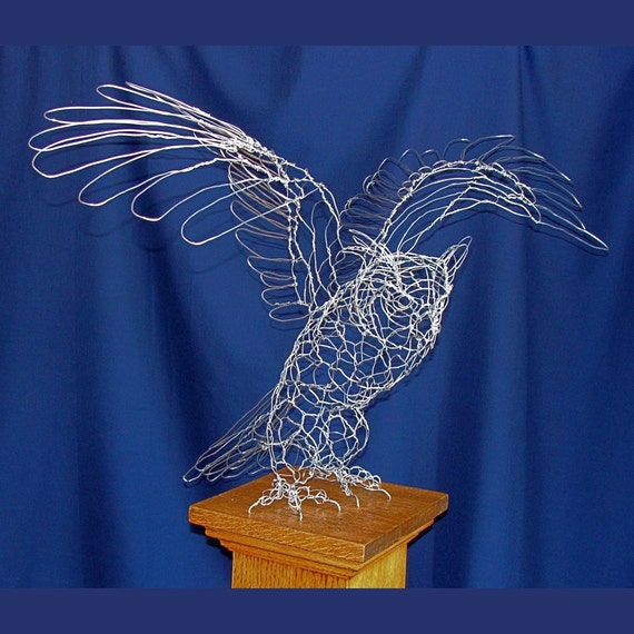 Great Horned Owl Wire Sculpture