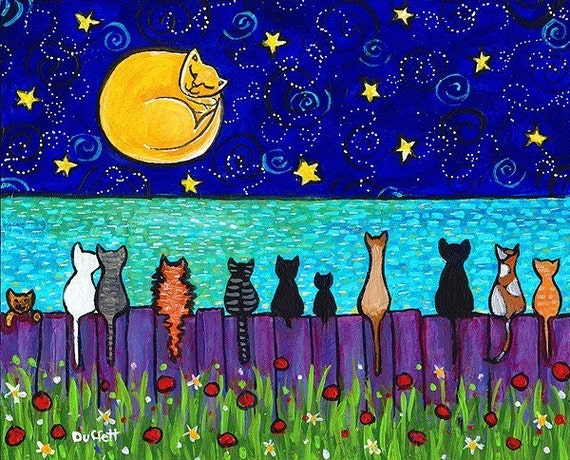 Full Moon Cats - Print