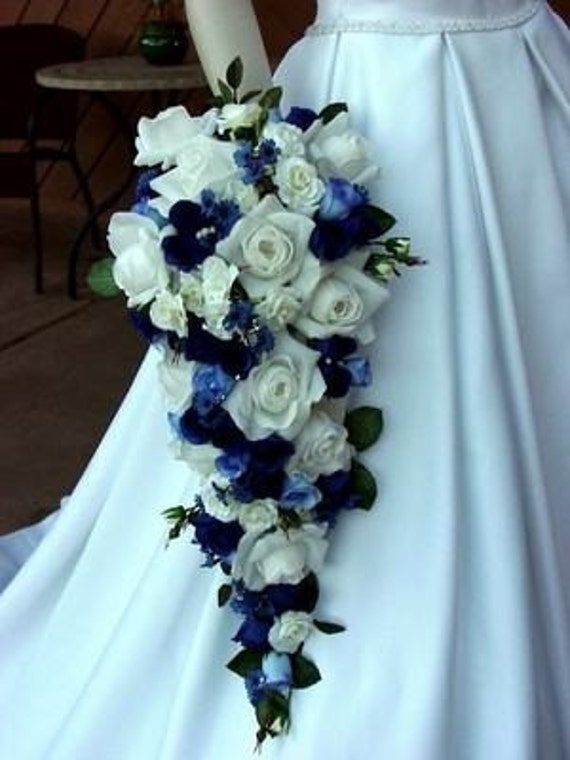 Royal Blue White Calla Lily Wedding Bouquets by Le Rhee From lerhee