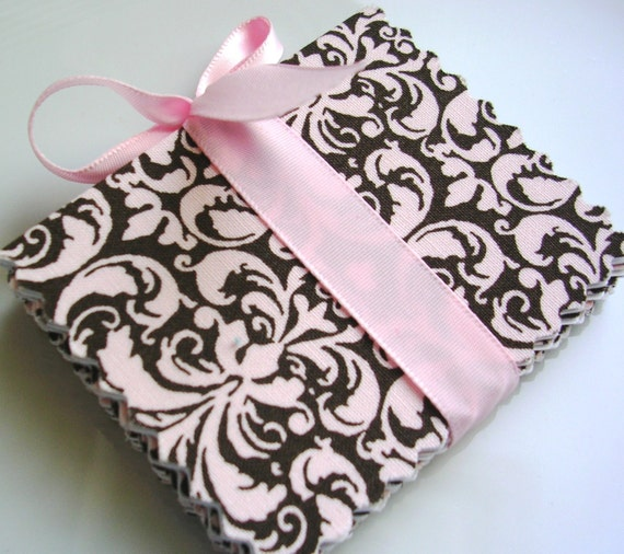 Chic Brown and Pink Damask Fabric Mini Gift Cards - Set of 8