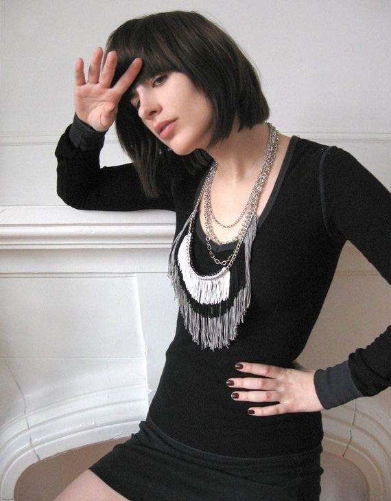 Maximum Fringe Necklace - Grey, Black, White