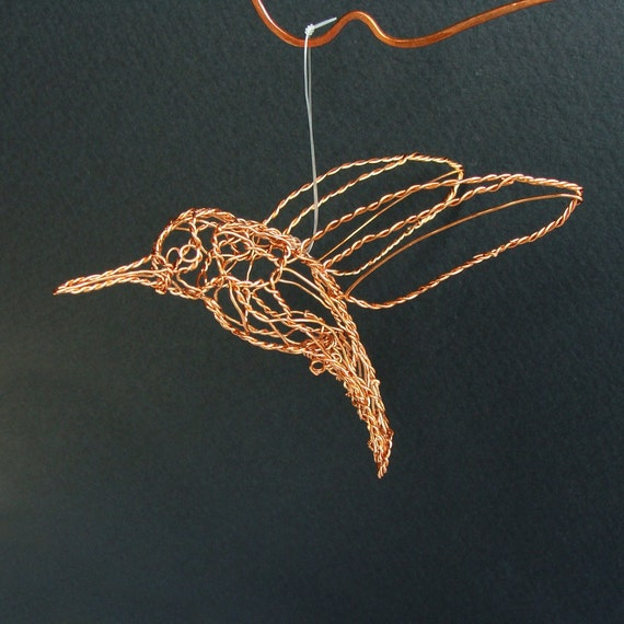 Copper Hummingbird Wire Sculpture