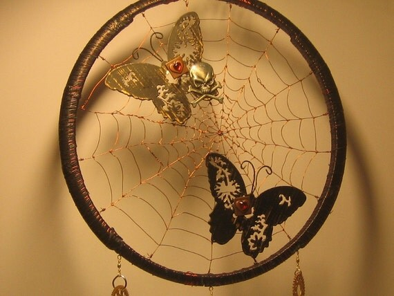 steampunk altered art mobile wall decor spidery web anna freimane artwork. Black Bedroom Furniture Sets. Home Design Ideas