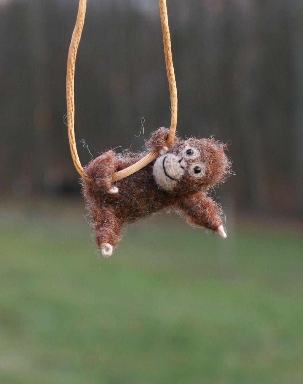 needle felted Orangutan necklace