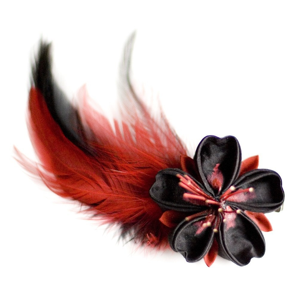 Red and Black Sakura Kanzashi Flower Hair Clip