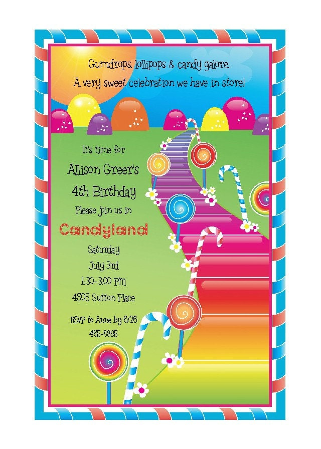 Candy Themed Invitations for nice invitations template