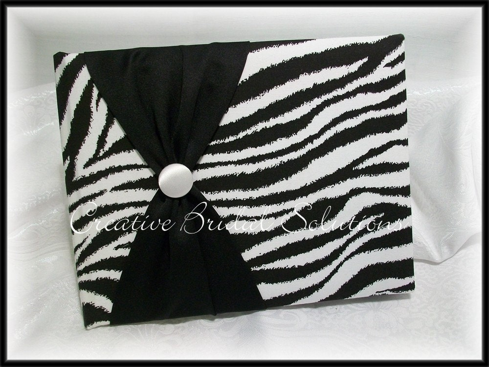 Black and White Zebra Wedding Guest Book and Pen From CreativeBridal