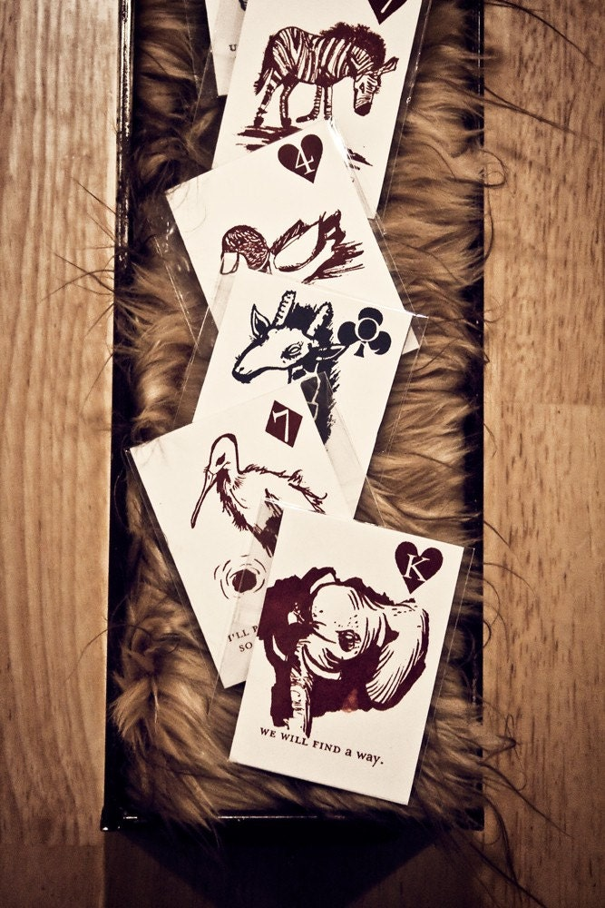Screen Printed Deck of Animal Cards