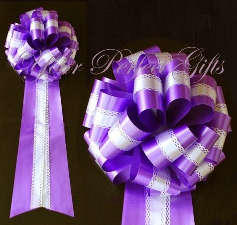 Large Dark Purple White Wedding 9 inch Lace two layer pull pew bows