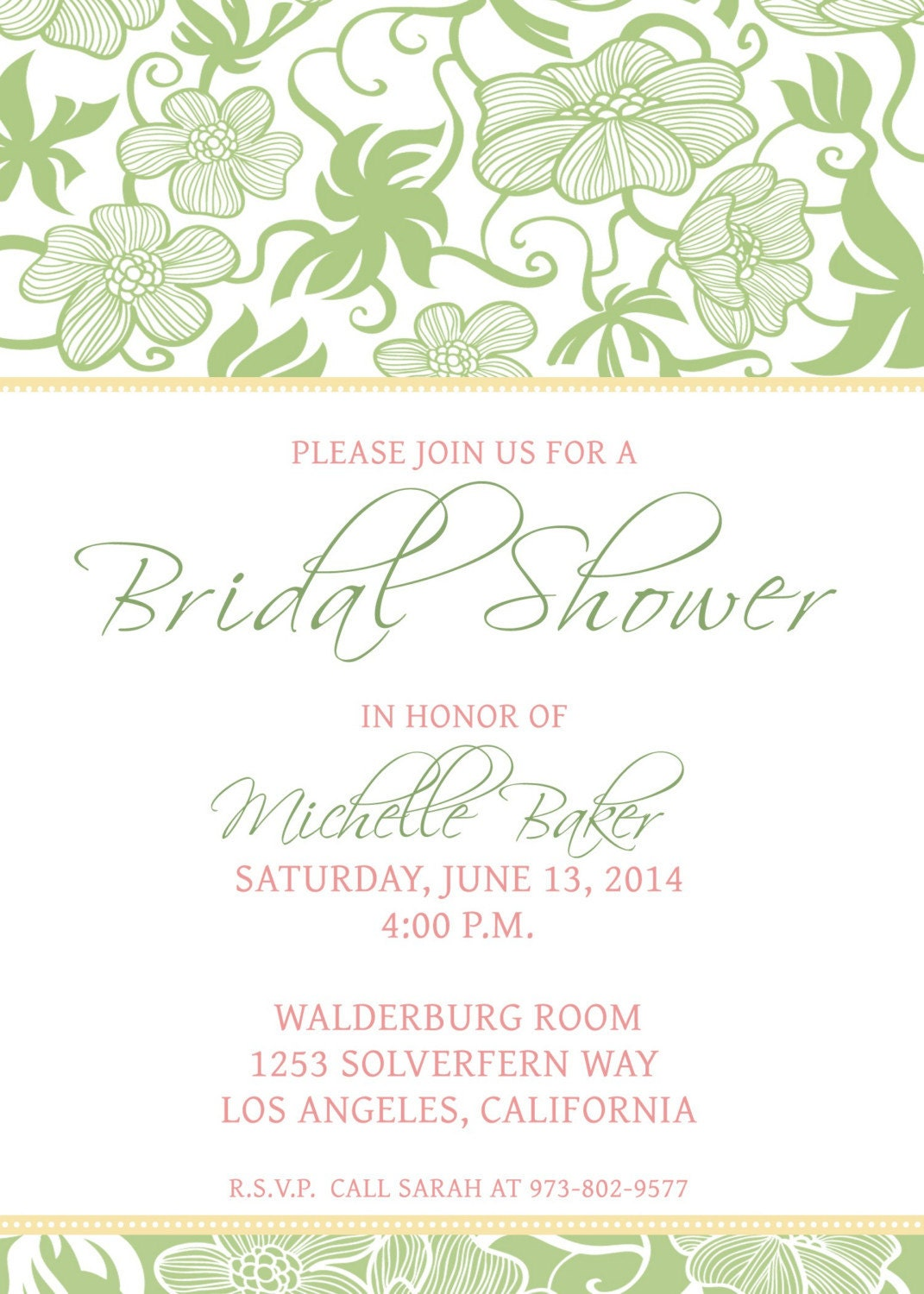 Printable Bridal Shower Invitation Template by CBDesignCollection ...