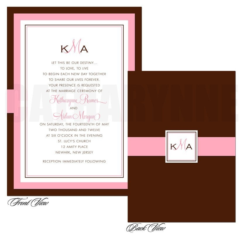 Chocolate Brown and Pink Wedding Invitations From catharynne