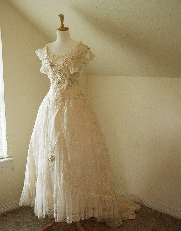 sophie vintage wedding dress victorian inspired lace