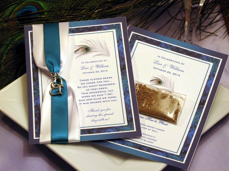 PEACOCK Seed Packet Wedding favors bridal shower baby birthday turqoise