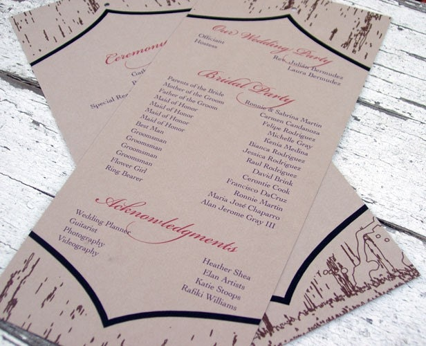 jewish wedding program wording rustic wedding program ideas