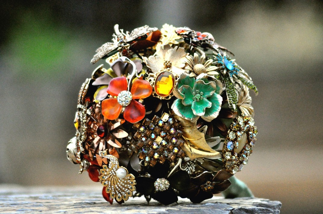 Wedding Brooch Bouquet OOAK Elegant Gold Jewel Tones Rhinestones