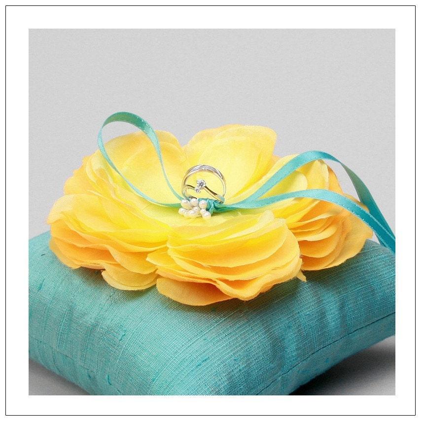 SERENA series yellow flower on teal silk dupioni wedding ring pillow