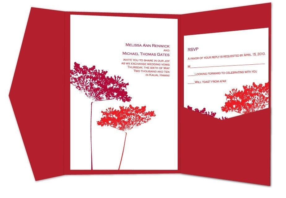 Queen Anne 39s Lace Pocket Folder Wedding Invitations